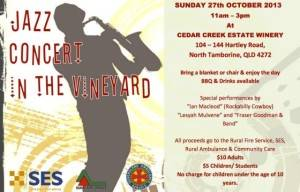 Cedar Creek Estate Winery  Sunday 27th October Jazz Concert