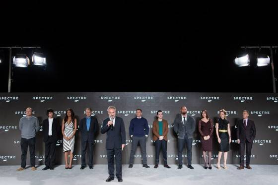 "Eon Productions, Metro-Goldwyn-Mayer and Sony Pictures Entertainment announce the 24th James Bond adventure "" SPECTRE. "" Pictured: (L to R) Rory Kinnear, Ben Wishaw, Naomie Harris, Ralph Fiennes, Sam Mendes, Daniel Craig, Andrew Scott, Dave Bautista, Monica Bellucci, Léa Seydoux, Christoph Waltz."