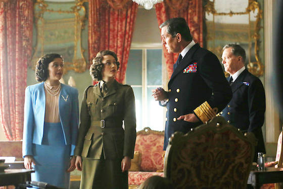 EXCLUSIVE: Rupert Everett, Emily Watson, Sarah Gadon and Bel Powley seen here as King George VI, Queen Mother, Queen Elizabeth whilst she was still a princess and Princess Margaret in a film about VE day called 'Girls Night Out'