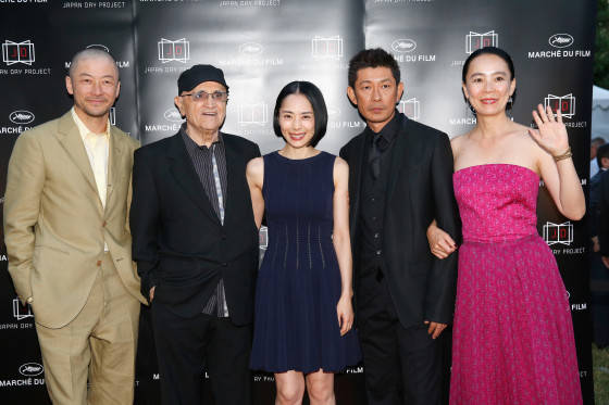 CANNES, FRANCE - MAY 18: (L-R) Actor Tadanabu Asano, Sergi Losique of Motreal World Film Festival, actors Eri Fukatsu, Matasatoshi Nagase and Naomi Kawase attend the Japan Day Project Party during the 68th annual Cannes Film Festival on May 18, 2015 in Cannes, France.  (Photo by Tristan Fewings/Getty Images for Japan Day Project) *** Local Caption *** Tadanabu Asano; Sergi Losique; Eri Fukatsu; Matasatoshi Nagase; Naomi Kawase