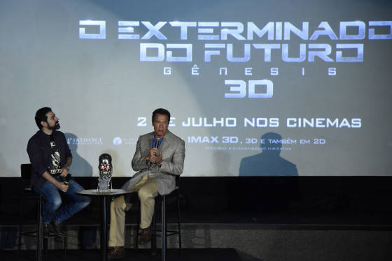 RIO DE JANEIRO, BRAZIL – JUNE 1: Arnold Schwarzenegger attends the Latin American Fan Screening of Paramount Pictures 'Terminator Genisys' at the São Luiz Movie Theater on June 1, 2015 in Rio de Janeiro, Brazil. (Photo by Raphael Dias/Getty Images for Paramount Pictures International)