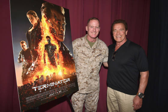 OCEANSIDE, CA - JUNE 14:  The first fans in the U.S. to see a screening of TERMINATOR GENISYS at Camp Pendleton on June 14, 2015 in Oceanside, California.  (Photo by Kevin Winter/Getty Images for Paramount Pictures')