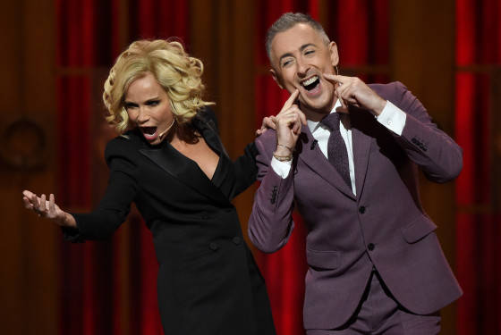 NEW YORK, NY - JUNE 07:  Hosts Kristin Chenoweth and Alan Cumming perform onstage at the 2015 Tony Awards at Radio City Music Hall on June 7, 2015 in New York City.  (Photo by Theo Wargo/Getty Images for Tony Awards Productions)