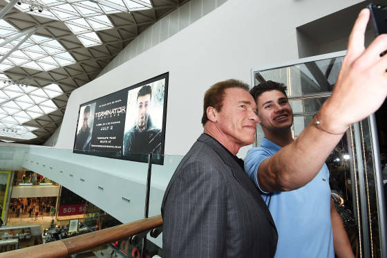 LONDON, ENGLAND - JUNE 17:  Arnold Schwarzenegger attends the Fan Footage Event of 'Terminator Genisys' at Vue Westfield on June 17, 2015 in London, England.  (Photo by Ben A. Pruchnie/Getty Images for Paramount Pictures International) *** Local Caption *** Arnold Schwarzenegger