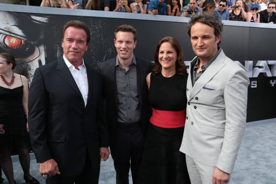 """Arnold Schwarzenegger, David Ellison, Dana Goldberg and Jason Clarke pose together as Paramount Pictures presents the Los Angeles premiere of """"Terminator Genisys"""" at the Dolby Theatre in Los Angeles, California on Sunday, June 28, 2015.  (Photo: Alex J. Berliner/ABImages)"""