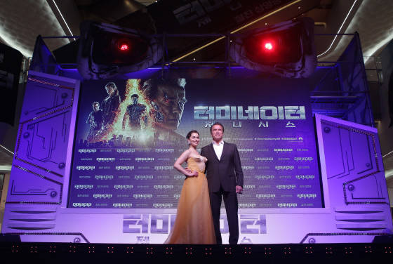 SEOUL, SOUTH KOREA - JULY 02:  Arnold Schwarzenegger and Emilia Clarke attend the Seoul Premiere of 'Terminator Genisys' at the Lotte World Tower Mall on July 2, 2015 in Seoul, South Korea.  (Photo by Chung Sung-Jun/Getty Images for Paramount Pictures International) *** Local Caption *** Arnold Schwarzenegger; Emilia Clarke