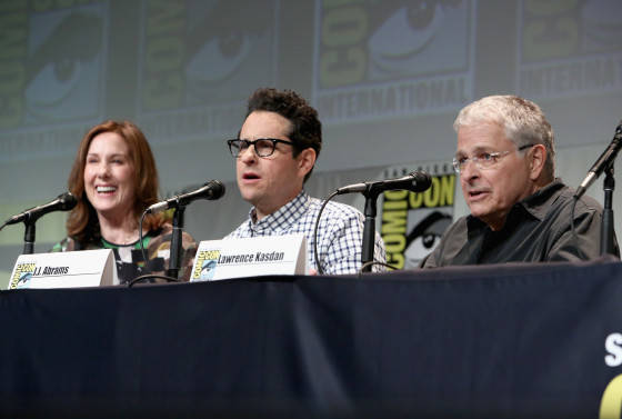 "SAN DIEGO, CA - JULY 10: (L-R) Producer Kathleen Kennedy, director J.J. Abrams and screenwriter Lawrence Kasdan at the Hall H Panel for ""Star Wars: The Force Awakens"" during Comic-Con International 2015 at the San Diego Convention Center on July 10, 2015 in San Diego, California.  (Photo by Jesse Grant/Getty Images for Disney) *** Local Caption *** Kathleen Kennedy; J.J. Abrams; Lawrence Kasdan"