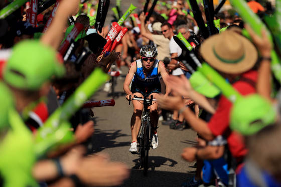 ROTH, GERMANY - JULY 12:  Crowds show support as athletes on the bike tackle the Solar Hill during the Challenge Triathlon Roth on July 12, 2015 in Roth, Germany. (Photo by Stephen Pond/Getty Images for Challenge Triathlon)