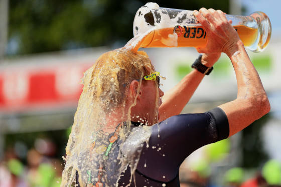ROTH, GERMANY - JULY 12:  David Dellow of Australia celebrates finishing third during the Challenge Triathlon Roth on July 12, 2015 in Roth, Germany. (Photo by Stephen Pond/Getty Images for Challenge Triathlon) *** Local Caption *** David Dellow