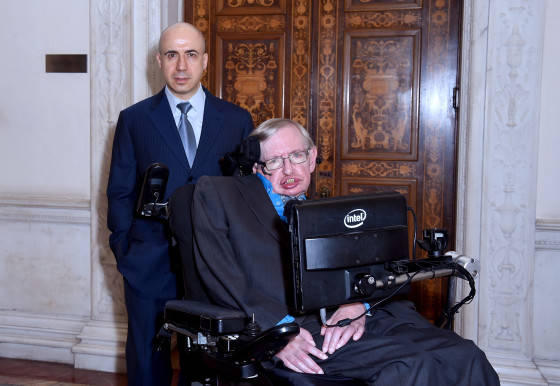 LONDON, ENGLAND - JULY 20:  DST Global Founder Yuri Milner and Theoretical Physicist Stephen Hawking ahead of a press conference on the Breakthrough Life in the Universe Initiatives, hosted by Yuri Milner and Stephen Hawking, at The Royal Society on July 20, 2015 in London, England.