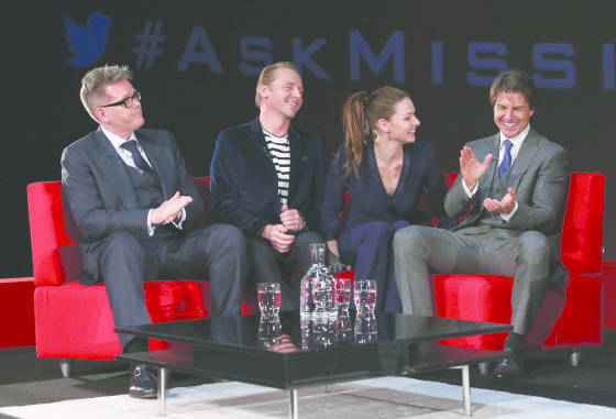(L-R) Christopher McQuarrie, Simon Pegg, Rebecca Ferguson and Tom Cruise take part in a Q&A at the UK Fan Screening of 'Mission: Impossible - Rogue Nation' at the IMAX Waterloo on July 25, 2015 in London, United Kingdom.