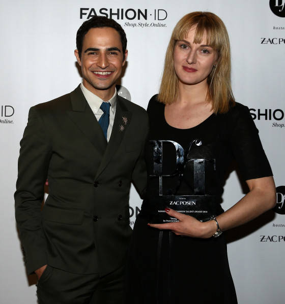 BERLIN, GERMANY - JULY 09:  (L-R) Zac Posen and DfT 2015 winner Mareike Massing pose after the 'Designer for Tomorrow' by Peek & Cloppenburg and Fashion ID show during the Mercedes-Benz Fashion Week Berlin Spring/Summer 2016 at Brandenburg Gate on July 9, 2015 in Berlin, Germany.  (Photo by Andreas Rentz/Getty Images for P&C and Fashion ID)