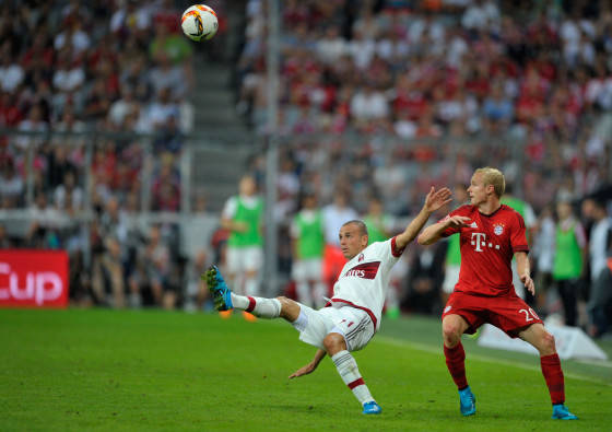 Sebastian Rode in action at Allianz Arena on August 4, 2015 in Munich, Germany.