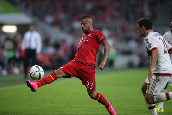 Arturo Vidal in action at Allianz Arena on August 4, 2015 in Munich, Germany.