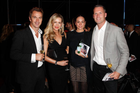 SYDNEY, AUSTRALIA - AUGUST 05:  Sophie Falkiner (2nd L), Rachel Gilbert (2nd R) and Tom Williams (R) pose at the after party during the David Jones Spring/Summer 2015 Fashion Launch at David Jones Elizabeth Street Store on August 5, 2015 in Sydney, Australia.  (Photo by Brendon Thorne/Getty Images for David Jones) *** Local Caption *** Sophie Falkiner; Rachel Gilbert; Tom Williams