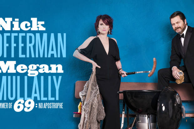 NICK OFFERMAN AND MEGAN MULLALLY  ARE READY TO TAKE YOU TO THE SUMMER OF 69: NO APOSTROPHE