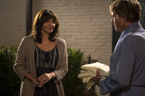 Mary Steenburgen stars as Jeannie and Robert Redford as Bill Bryson in Broad Green Pictures upcoming release, A WALK IN THE WOODS.