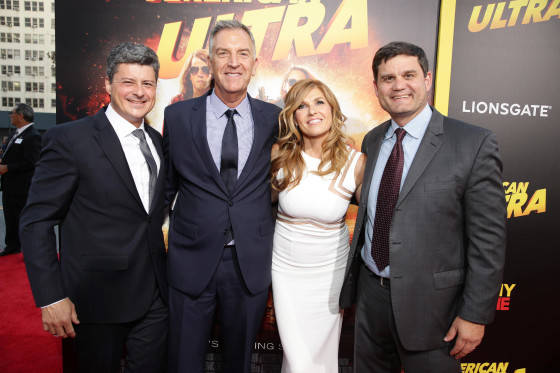 Producer Anthony Bregman, Steve Beeks, Co-Chief Operating Officer and President of Lionsgate Motion Picture Group, Connie Britton and Jason Constantine, President of Acquisitions and Co-Productions of Lionsgate Motion Picture Group, seen at The World Premiere of Lionsgate's 'American Ultra' at Ace Hotel on Tuesday, August 18, 2015, in Los Angeles, CA.