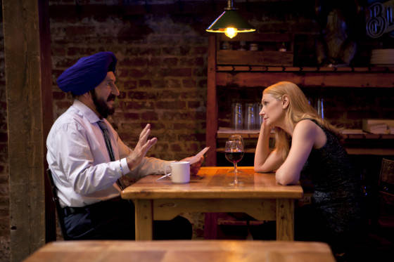 (l to r) Ben Kingsley stars as Darwan and Patricia Clarkson as Wendy in Broad Green Pictures upcoming release, LEARNING TO DRIVE.