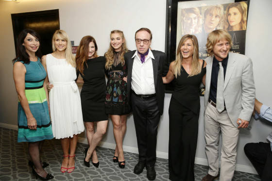 Illeana Douglas, Lucy Punch, Kathryn Hahn, Imogen Poots, Director/Screenwriter Peter Bogdanovich, Jennifer Aniston and Owen Wilson seen at Los Angeles Premiere of Lionsgate Premiere 'She's Funny That Way' at Harmony Gold Theatre on Wednesday, August 19, 2015, in Los Angeles, CA.
