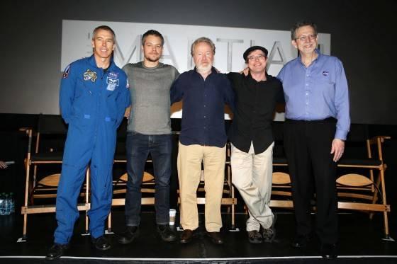 Astronaut Drew Feustel, Matt Damon, Director Ridley Scott, Andy Weir and Dr. Jim Green at the Twentieth Century Fox 'The Martian' Trailer Launch Event at United Artists La Canada Theater on Tuesday, August 18, 2015, in La Canada Flintridge, CA.