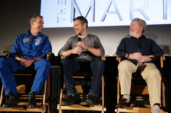Astronaut Drew Feustel, Matt Damon and Director Ridley Scott at the Twentieth Century Fox 'The Martian' Trailer Launch Event at United Artists La Canada Theater on Tuesday, August 18, 2015, in La Canada Flintridge, CA.