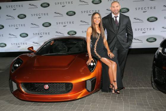 Naomi Harris ( James Bond Spectre, Miss Moneypenny ) and Dave Bautista ( James Bond Spectre, Mr. Hinx ) next to a Jaguar C-X75during the presentation of the Jaguar Land Rover vehicles starring in the new Bond film 'Spectre' on September 15, 2015 in Frankfurt am Main, Germany.