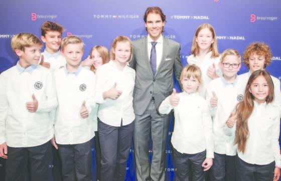 Rafael Nadal with kids attend the Tommy Hilfiger X Rafael Nadal @ Breuninger on November 10, 2015 in Stuttgart, Germany.