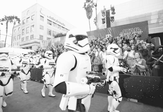"HOLLYWOOD, CA - DECEMBER 14: (EDITORS NOTE: Image has been shot in black and white. Color version not available.)  Stormtroopers attend the World Premiere of ""Star Wars: The Force Awakens"" at the Dolby, El Capitan, and TCL Theatres on December 14, 2015 in Hollywood, California.  (Photo by Charley Gallay/Getty Images for Disney)"