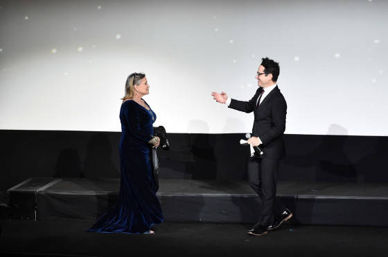 "HOLLYWOOD, CA - DECEMBER 14: Actress Carrie Fisher (L) and director J.J. Abrams speak onstage during the World Premiere of ""Star Wars: The Force Awakens"" at the Dolby, El Capitan, and TCL Theatres on December 14, 2015 in Hollywood, California.  (Photo by Alberto E. Rodriguez/Getty Images for Disney) *** Local Caption *** Carrie Fisher; J.J. Abrams"