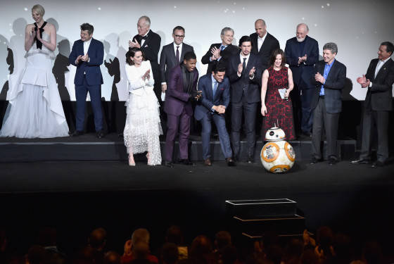 """HOLLYWOOD, CA - DECEMBER 14:  The cast and crew speak onstage during the World Premiere of """"Star Wars: The Force Awakens"""" at the Dolby, El Capitan, and TCL Theatres on December 14, 2015 in Hollywood, California.  (Photo by Alberto E. Rodriguez/Getty Images for Disney)"""