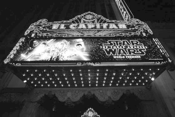 "HOLLYWOOD, CA - DECEMBER 14: (EDITORS NOTE: Image has been shot in black and white. Color version not available.) A view of the marquee during the World Premiere of ""Star Wars: The Force Awakens"" at the Dolby, El Capitan, and TCL Theatres on December 14, 2015 in Hollywood, California.  (Photo by Charley Gallay/Getty Images for Disney)"