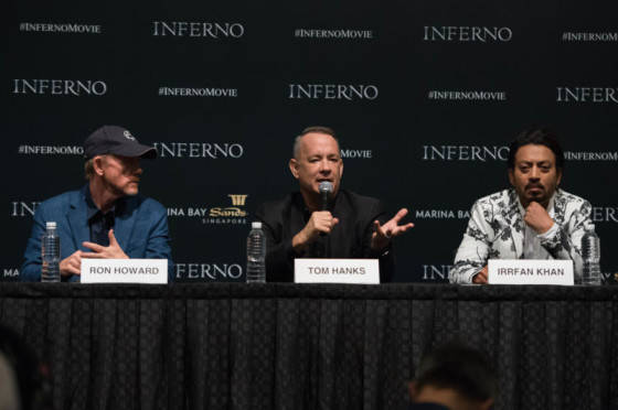 """Ron Howard, Tom Hanks and Irrfan Khan speak at the """"Inferno"""" press conference at the ArtScience Museum at Marina Bay Sands on June 13, 2016 in Singapore."""