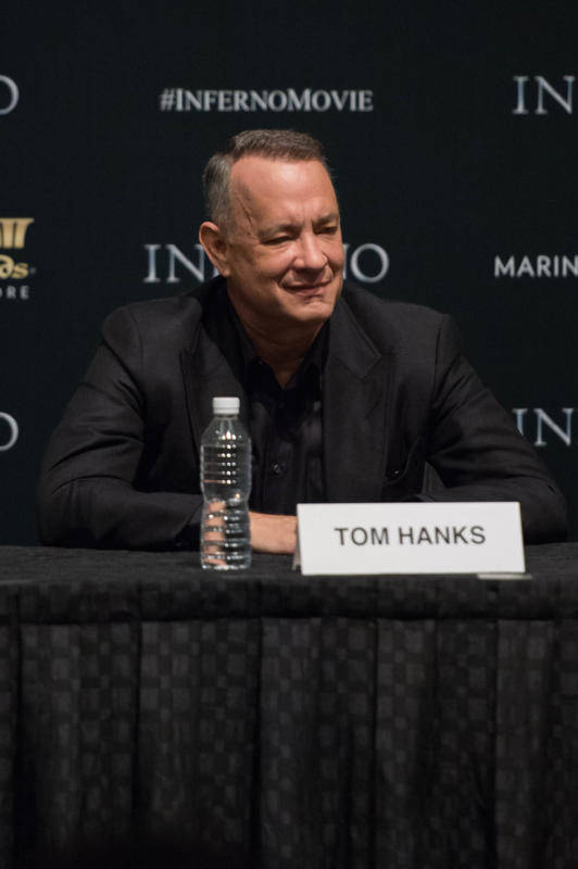 """Tom Hanks speaks at the """"Inferno"""" press conference at the ArtScience Museum at Marina Bay Sands on June 13, 2016 in Singapore."""
