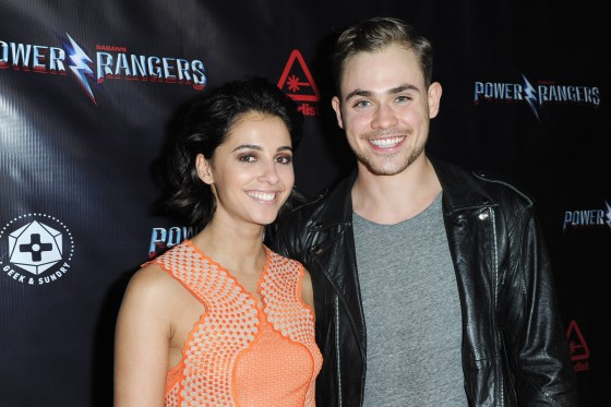 Naomi Scott (Kimberly, the Pink Ranger) and Dacre Montgomery (Jason, the Red Ranger)