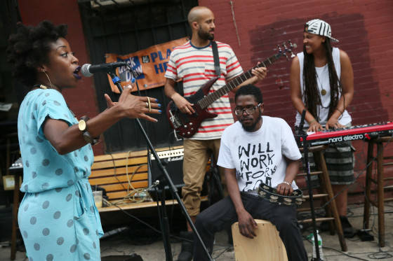 NEW YORK, NY - JUNE 21:  Rue Brown performs at Kulushkat Falafel during Make Music Day 2015 In Brooklyn on June 21, 2015 in New York City.  (Photo by Jemal Countess/Getty Images for NAMM)