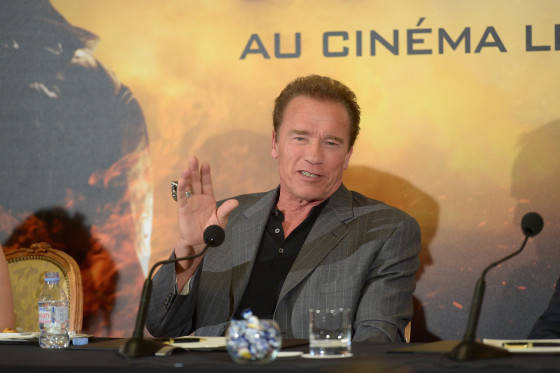 PARIS, FRANCE - JUNE 19:  Actor Arnold Schwarzenegger attends the France Press Junket of 'Terminator Genisys' at the Hotel Four Season Georges V on June 19, 2015 in Paris, France.  (Photo by Dominique Charriau/Dominique Charriau/Getty Images for Paramount Pictures) *** Local Caption *** Arnold Schwarzenegger