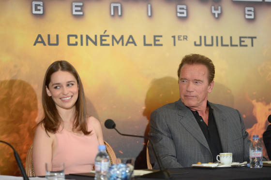 PARIS, FRANCE - JUNE 19:  Actors Emilia Clarke and Arnold Schwarzenegger attend the France Press Junket of 'Terminator Genisys' at the Hotel Four Season Georges V on June 19, 2015 in Paris, France.  (Photo by Dominique Charriau/Dominique Charriau/Getty Images for Paramount Pictures) *** Local Caption *** Emilia Clarke; Arnold Schwarzenegger