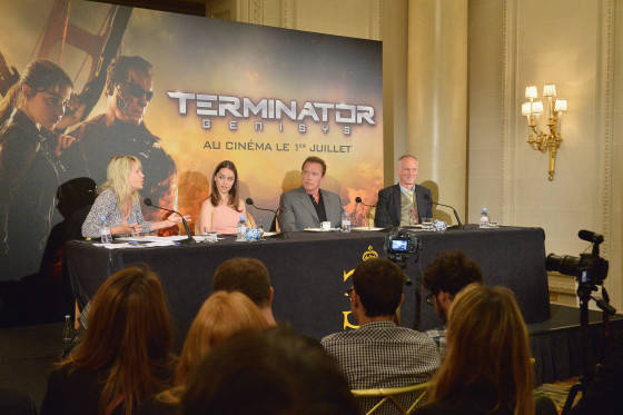 PARIS, FRANCE - JUNE 19:  (L-R) Moderator Béatrice Wachsberger, Actors Emilia Clarke and Arnold Schwarzenegger and Director Alan Taylor attend the France Press Junket of 'Terminator Genisys' at the Hotel Four Season Georges V on June 19, 2015 in Paris, France.  (Photo by Dominique Charriau/Dominique Charriau/Getty Images for Paramount Pictures) *** Local Caption *** Arnold Schwarzenegger; Alan Taylor; Emilia Clarke; Béatrice Wachsberger
