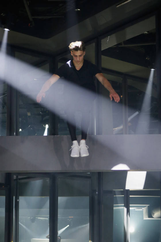 PARIS, FRANCE - JUNE 25:  A performer performs at The Adidas Originals Tubular Paris Fashion Week Performance on June 25, 2015 in Paris, France.  (Photo by Ugo Richard/Getty Images)