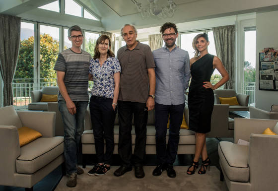 From left: Fabrice Aragno, Joanna Hogg, Jülio Bressane, Jay Van Hoy and Clotilde Courau