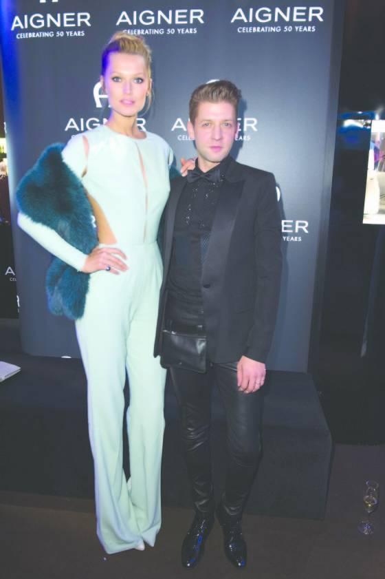 Toni Garrn (L) and chief designer Christian Beck