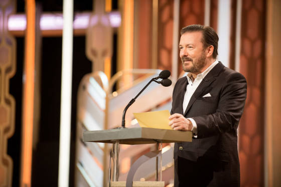 Host Ricky Gervais onstage during the 73rd Annual Golden Globe Awards at the Beverly Hilton in Beverly Hills, CA on Sunday, January 10, 2016.