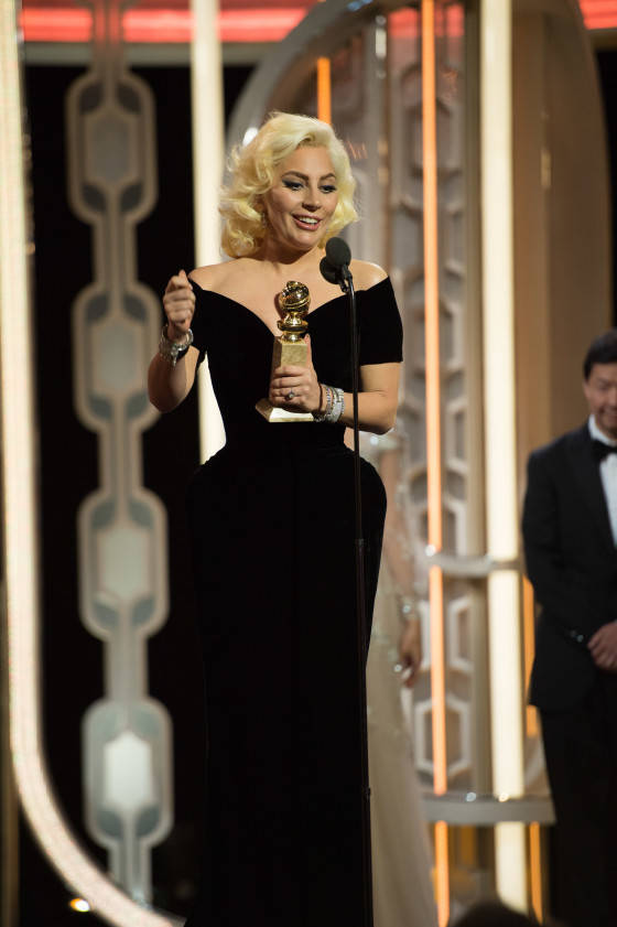 """Lady Gaga accepts the Golden Globe Award for BEST PERFORMANCE BY AN ACTRESS IN A MINI-SERIES OR MOTION PICTURE MADE FOR TELEVISION for her role in """"American Horror Story: Hotel"""" at the 73rd Annual Golden Globe Awards at the Beverly Hilton in Beverly Hills, CA on Sunday, January 10, 2016."""