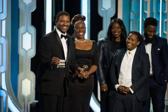 """Denzel Washington accepts the Cecil B. DeMille Award for his """"outstanding contribution to the entertainment field"""" at the 73rd Annual Golden Globe Awards at the Beverly Hilton in Beverly Hills, CA on January 10, 2016."""