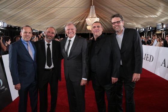 Executive Producer Jack Rapke, Producer Steve Starkey, Director Robert Zemeckis, Producer Graham King, and Paramount Film Group President Marc Evans, arrive at the Allied Red Carpet Fan Event at the Regency Village Theater in Los Angeles, CA...(Photo: Alex J. Berliner / ABImages)