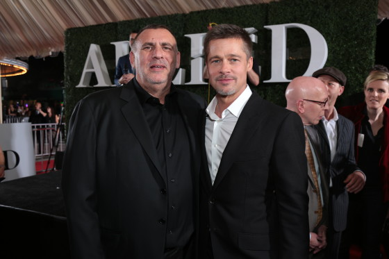 Producer Graham King and Brad Pitt arrive at the Allied Red Carpet Fan Event at the Regency Village Theater in Los Angeles, CA...(Photo: Alex J. Berliner / ABImages)