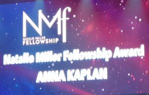 ANNA KAPLAN ANNOUNCED AS NATALIE MILLER FELLOWSHIP